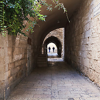 Syriac Convent Street at the intersection of Habad Street leads into a courtyard. Jewish Quarter, Old City of Jerusalem. WATERMARKS WILL NOT APPEAR ON PRINTS OR LICENSED IMAGES.