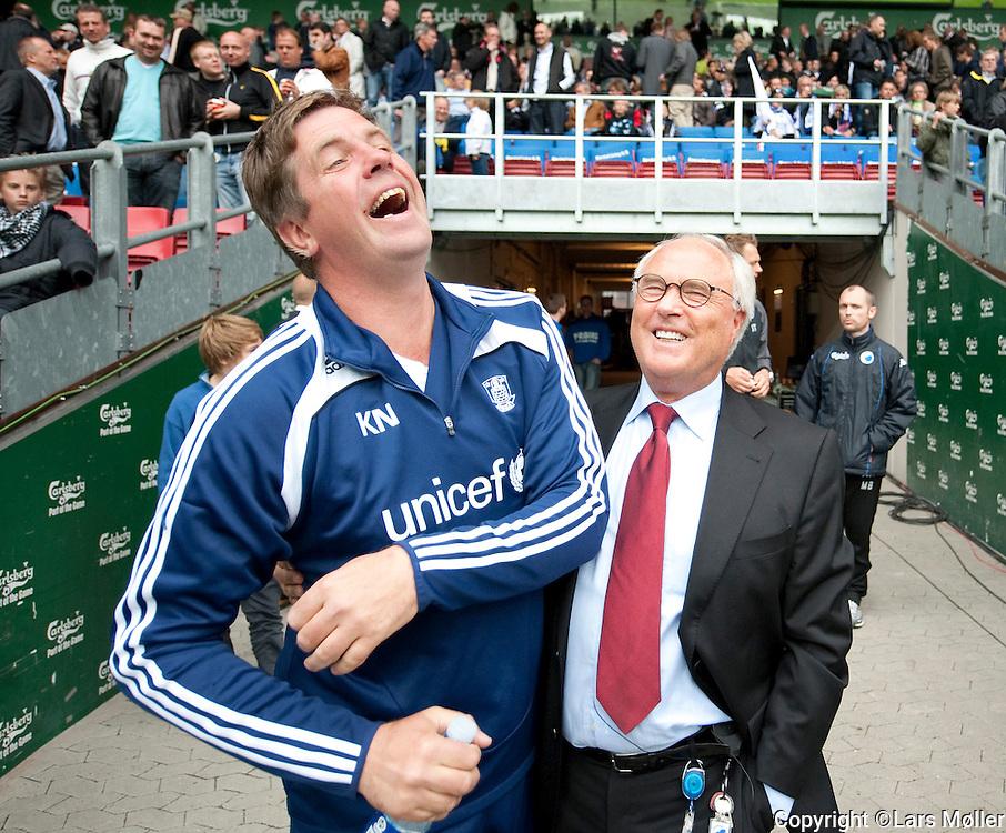 DK Caption:<br /> 20090517, K&oslash;benhavn, Danmark:<br /> SAS Liga fodbold FC K&oslash;benhavn - Br&oslash;ndby:<br /> Cheftr&aelig;ner Kent Nielsen, BIF Br&oslash;ndby., Bestyrelsesformand Flemming &Oslash;stergaard (Don &Oslash;), FCK/Parken.<br /> Foto: Lars M&oslash;ller<br /> UK Caption:<br /> 20090517, Copenhagen, Denmark:<br /> SAS Liga football FC Copenhagen - Brondby:<br /> Cheftr&aelig;ner Kent Nielsen, BIF Br&oslash;ndby., Bestyrelsesformand Flemming &Oslash;stergaard (Don &Oslash;), FCK/Parken.<br /> Photo: Lars Moeller