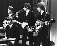 BEATLES June 1966. John Lennon, Ringo Starr, Paul McCartney and George Harrison. This was the only live Top Of The Pops show done by the Beatles.© Chris Walter