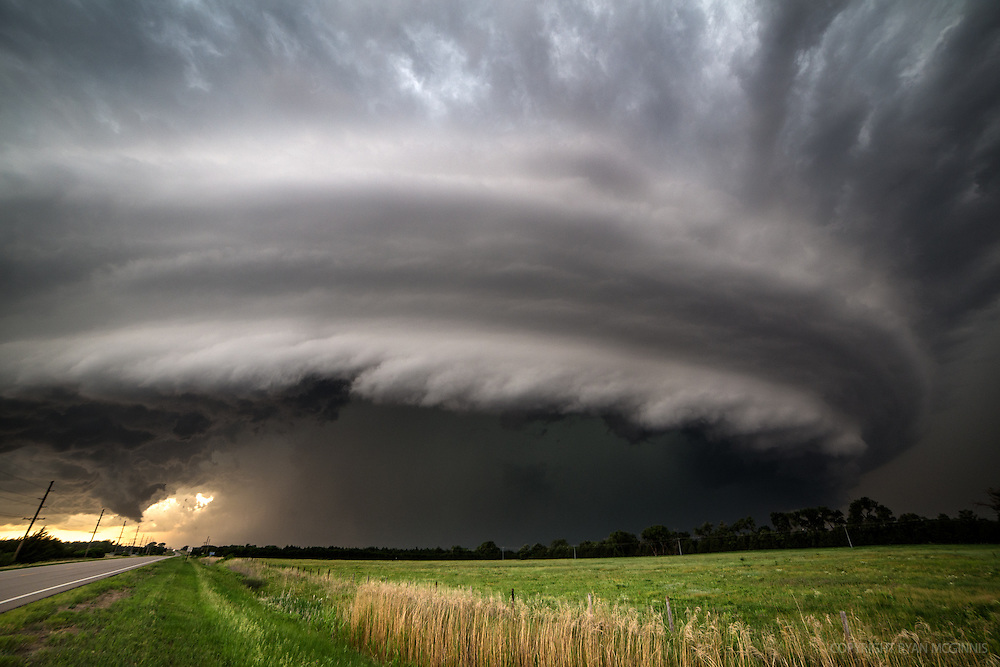 A tornadic HP (high precipitation) supercell approaches just east of Burwell, Nebraska, June 16, 2014.