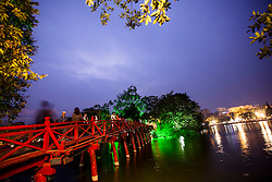 View at night of The Huc Bridge leading to Ngoc Son Temple, Hoan Kiem Lake, Hanoi, Vietnam, Southeast Asia