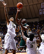 WEST LAFAYETTE, IN - DECEMBER 29: Brandon Britt #12 of the William & Mary Tribe shoots the ball as Jacob Lawson #34 of the Purdue Boilermakers and Ronnie Johnson #3 of the Purdue Boilermakers defend at Mackey Arena on December 29, 2012 in West Lafayette, Indiana. Purdue defeated William & Mary 73-66. (Photo by Michael Hickey/Getty Images) *** Local Caption *** Brandon Britt; Jacob Lawson; Ronnie Johnson