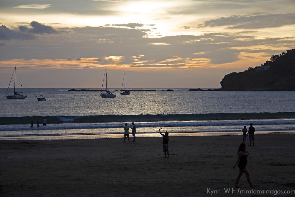 Central America, Nicaragua, San Juan del Sur. Sunset at San Juan del Sur Beach.