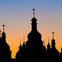 silhouette of church in Kiev the capital of Ukraine