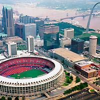 Aerial photograph of Busch Stadium, home of the St. Louis Cardinals Baseball