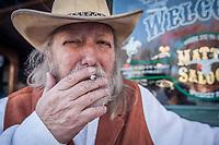 Cowboy actor Steve Taylor in front of Matt's Saloon, Prescott, AZ  stevengrizztaylor@mail.com
