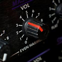 close-up of a guitar amplifier