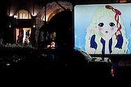 Lights and taxi on Omote-sando Dori, temple of the luxury fashion brands in Shibuya, Tokyo, Japan / Un taxi et les lumieres de la rue Omote-Sando, temple de la mode de luxe à Shibuya, Tokyo, Japon