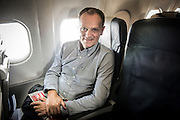 Donald Tusk , the president of the European Council at the board of airplane on his way for EPP European People Party in Madrit, Spainon 21.10.2015 by Wiktor Dabkowski