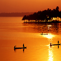 Fishing in Ashtamudi Lake.<br />