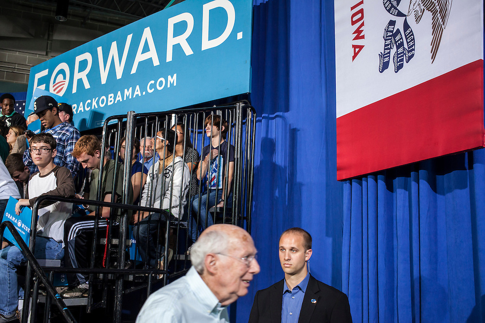 A man exits after Vice President Joe Biden addressed a rally at Grinnell College during a two-day campaign swing through Iowa on Tuesday, September 18, 2012 in Grinnell, IA.