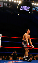 April 12, 2008; Atlantic City, NJ, USA;  Antonio Margarito screams at Kermit Cintron to get up after knocking him down in the 6th round of their 12 round IBF Welterweight Championship fight at Boardwalk Hall in Atlantic City, NJ. Margarito won via 6th round KO.