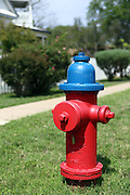 A brightly-coloured fire hydrant in Round Rock, Texas