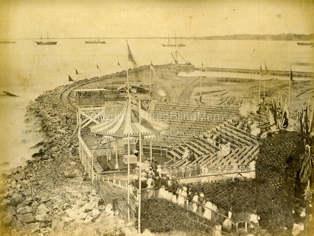 Breakwater commencement Ceremony 1875<br /> The foundation stone for the south-west arm of the breakwater was laid by H.R.H. Prince Albert Victor and George, the Prince of Wales as Midshipman on board H.M.S. &ldquo;Bacchants&rdquo; during a visit to Ceylon on 25th January 1882. (double check dates...)