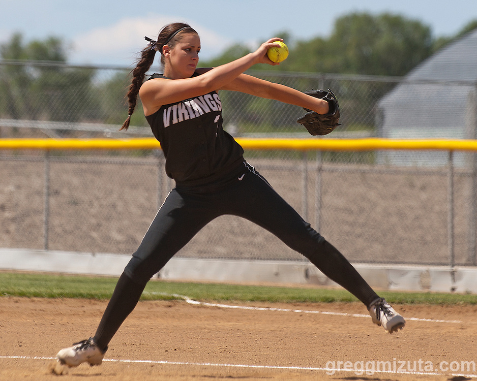 Vale junior Kelsey Hawley pitches during the Vale-Nyssa doubleheader at Vale High School, Vale, Oregon, May 8, 2015.