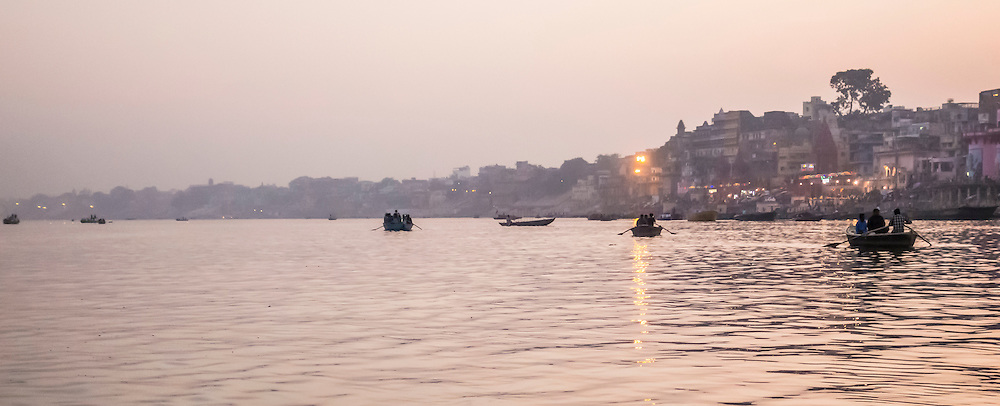 Evening on the Ganges river, Varanasi, India.