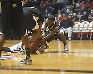 """Ole Miss guard Trevor Gaskins (23)  battles for the ball at C.M. """"Tad"""" Smith Coliseum in Oxford, Miss. on Saturday, December 4, 2010."""