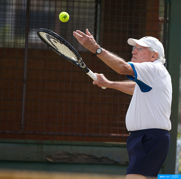 Alan Day, Australia, in action in the 85 Mens Singles during the 2009 ITF Super-Seniors World Team and Individual Championships at Perth, Western Australia, between 2-15th November, 2009.
