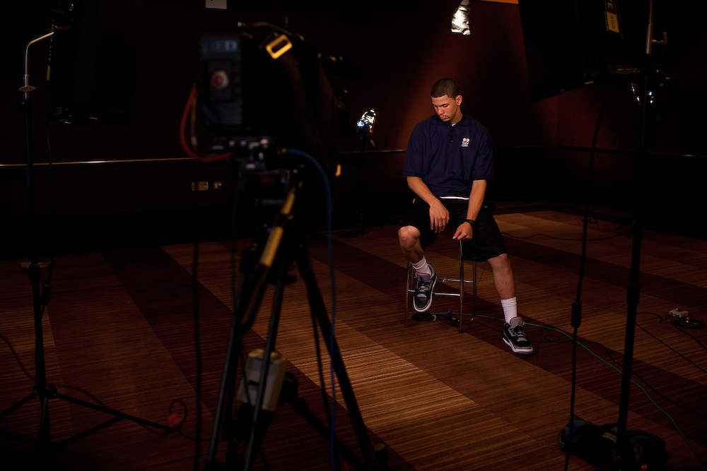{June 27, 2012} {4:00pm} -- New York, NY, U.S.A.Duke basketball star Austin Rivers waits quietly for an ESPN interview at the Westin Hotel before the NBA draft Thursday in Manhattan, New York on June 27, 2012. .