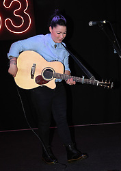 Former X-Factor contestant  Lucy Spraggan gives an acoustic performance before meeting fans and signing copies of her new album  'We Are' at HMV, Oxford Street, London on Wednesday 6 May 2015