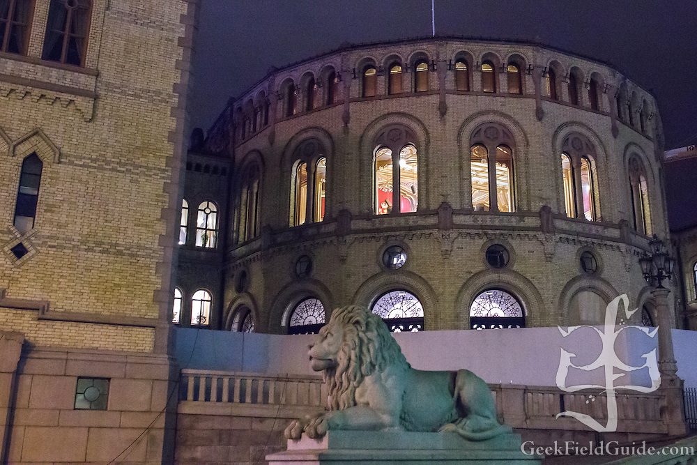 The Stortinget building in Oslo, Norway, the seat of Norwegian parliament.