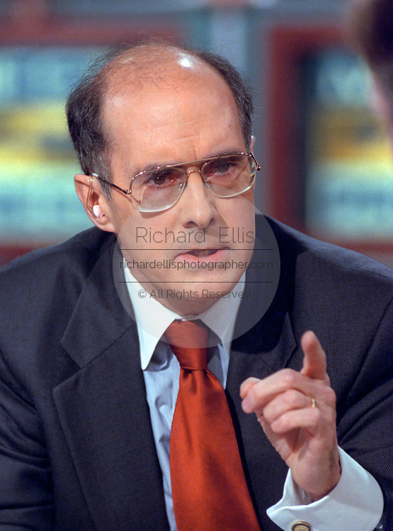 Deputy Secretary of State Strobe Talbott discusses the situation in Kosovo during NBC's Meet the Press April 18, 1999 in Washington, DC.