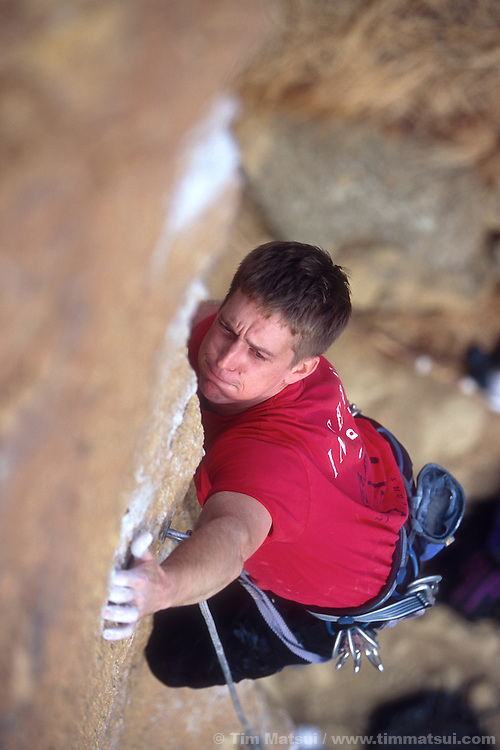 Derik Andreoli climbing Latest Rage at Smith Rock, OR.