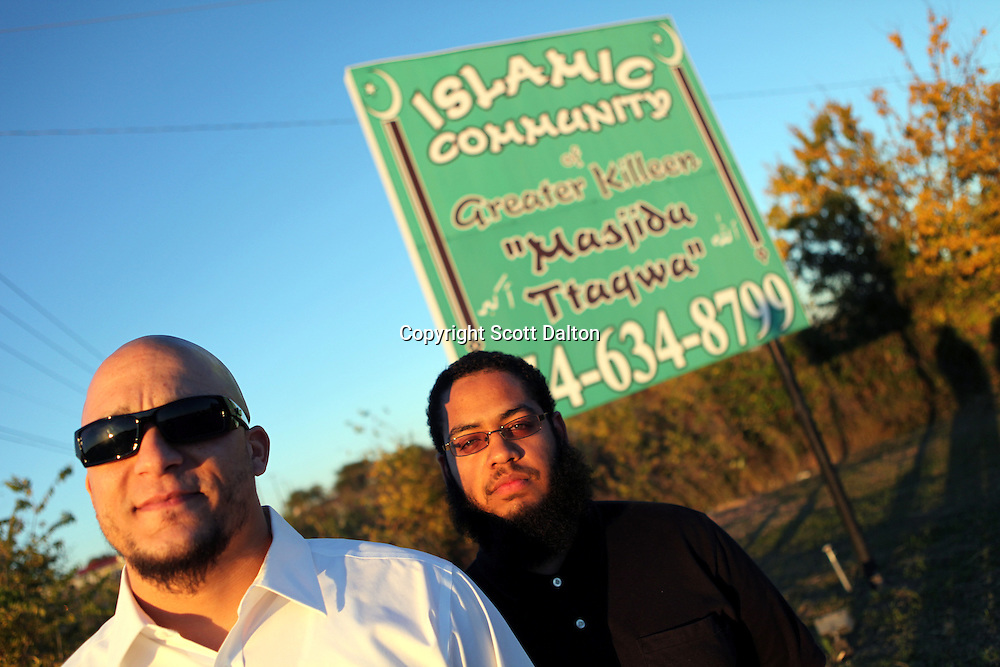 Victor Benjamin, left, and Duane Reasoner Jr., right, outside of their local mosque in Killeen, TX on Friday November 6, 2009. Both Benjamin and Reasoner saw Maj. Nidal Malik Hasan the day before he went on a killing spree at Ft. Hood killing 13 people. (Photo/Scott Dalton)