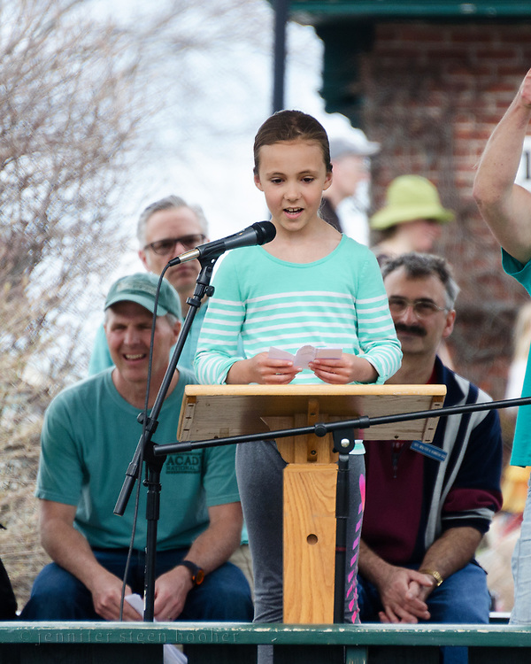 Bar Harbor, USA. 29 April, 2017. Taylor Ehrlich addresses the Downeast Climate March.