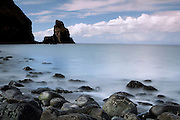 Long exposure image of the beach at Talisker Point, on the Minginish Peninsular of the Isle of Skye, Scotland