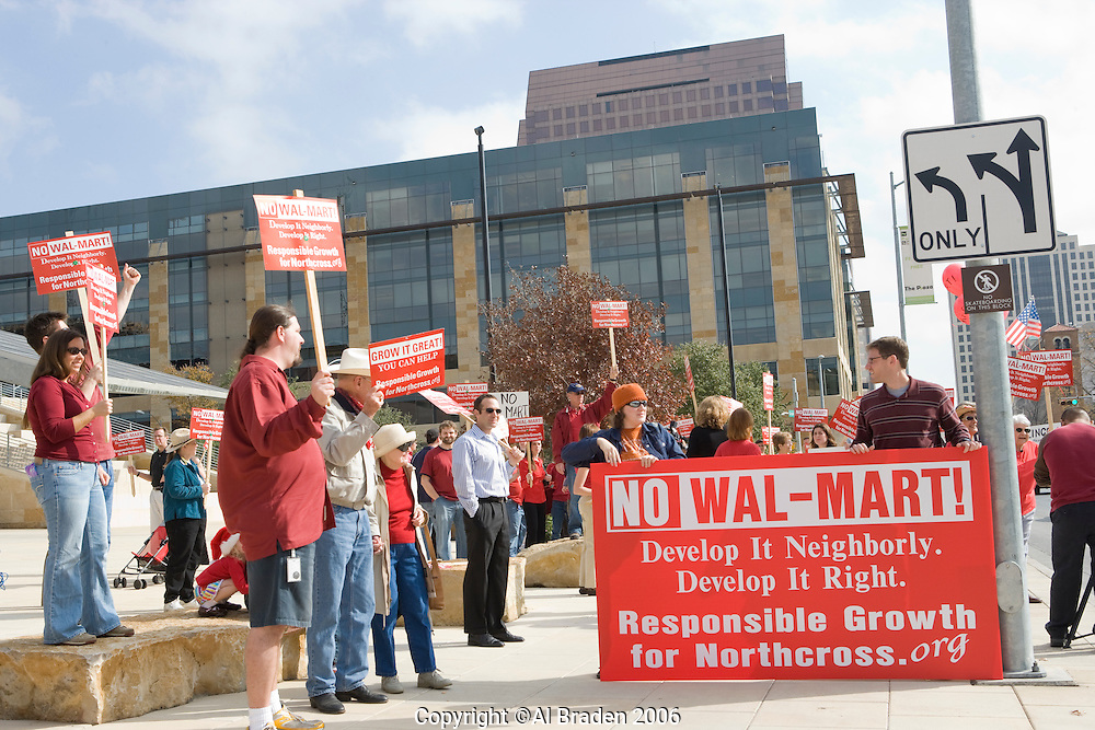 Protest at Austin City Hall against redevelopment of Northcross Mall into a 220,000 ft. Wal-Mart Super Center.