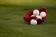 ARLINGTON, TX - OCTOBER 23: Baseballs in a St. Louis Cardinals' red mitt on the field prior to Game 4 of the 2011 World Series. St. Louis Cardinals at Texas Rangers.  Photographed at Rangers Ballpark in Arlington, Texas on October 23, 2011. Photograph © 2011 Darren Carroll