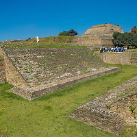 MONTE ALBAN , MEXICO - NOV 01 : The ruins of the Zapotec city of Monte Alban in Oaxaca, Mexico on November 01 2015.  The park is UNESCO World Heritage Site since 1987