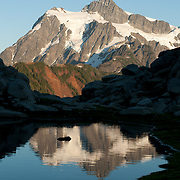 Mount Shuksan (9127 feet elevation, located in North Cascades National Park) is seen from Heather Meadows, Mount Baker - Snoqualmie National Forest, Washington, USA.