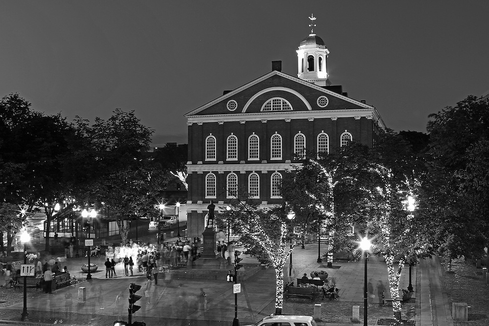Boston B&amp;W photography of the famous Faneuil Hall Marketplace in Downtown Boston. This historic and iconic New England city of Boston night scenery photography image is available as museum quality photography prints, canvas prints, acrylic prints or metal prints. Fine art prints may be framed and matted to the individual liking and decorating needs:<br />