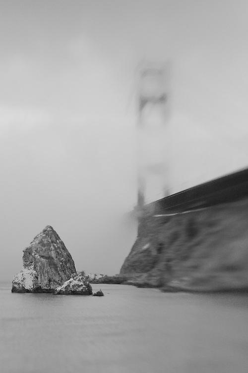 Golden Gate Bridge Fog - Lensbaby - Black & White