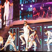 WASHINGTON, D.C. - November 5th, 2012 - Teen recording sensation Justin Bieber (middle) performs at the Verizon Center in Washington, D.C. as part of his  Believe Tour. The tour, named after his sophomore album, is expected to play over 80 shows in North America, Europe, and Asia. (Photo by Kyle Gustafson/ For The Washington Post)