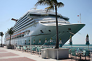 A beautiful Cruise Ship at dock, Mallory Square, Key West, Florida.
