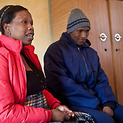 13 May 2011, Teyateyaneng, Berea District, Lesotho. mothers2mothers is an organisation that functions within the existing heatlhcare system, that train and employ mothers with HIV to educate and support their peers. Husband Taelo Hae and his wife Puleng Hae,  have recently tested HIV positive and are very careful not to transmit the disease to their unborn baby. Already parents to a boy, they are hoping that the baby due to be born at then of July 2011, will be a girl.