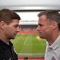 Pictures show Liverpool captain Steven Gerrard and Jamie Carragher  announcing the squads and ticket details for the Liverpool All-Star Charity Match on Sunday 29th March 2015.<br />