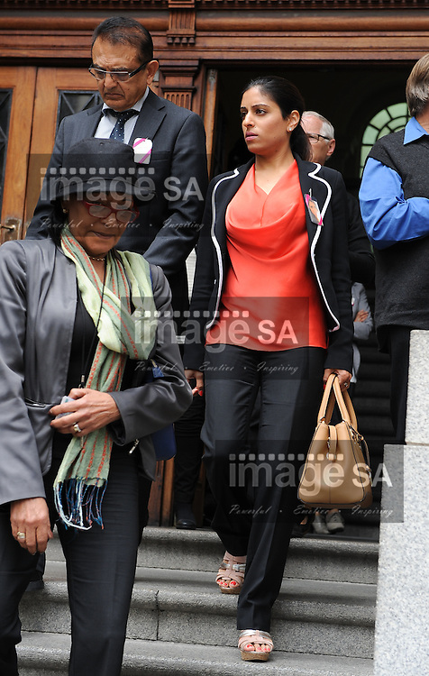 CAPE TOWN, SOUTH AFRICA – OCTOBER 30: Sneha Mashru, cousin of Anni Hindocha, leaves the Western Cape High Court on October 30, 2014 in Cape Town, South Africa. Dewani is accused of organising his wife's murder while they were on honeymoon in Cape Town in 2010, he has pleaded not guilty to all charges. (Photo by Gallo Images / Roger Sedres)