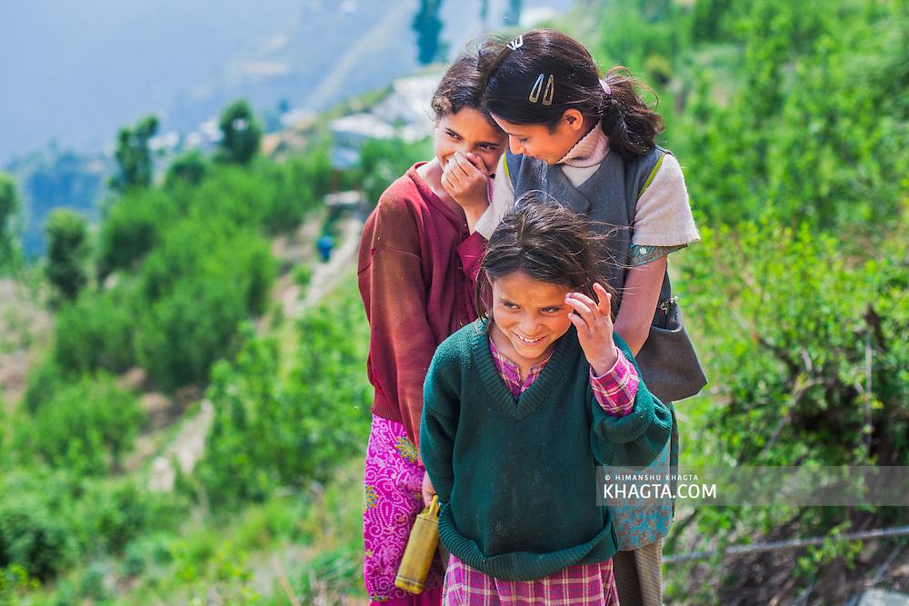 Shy girls from a village in Chopal