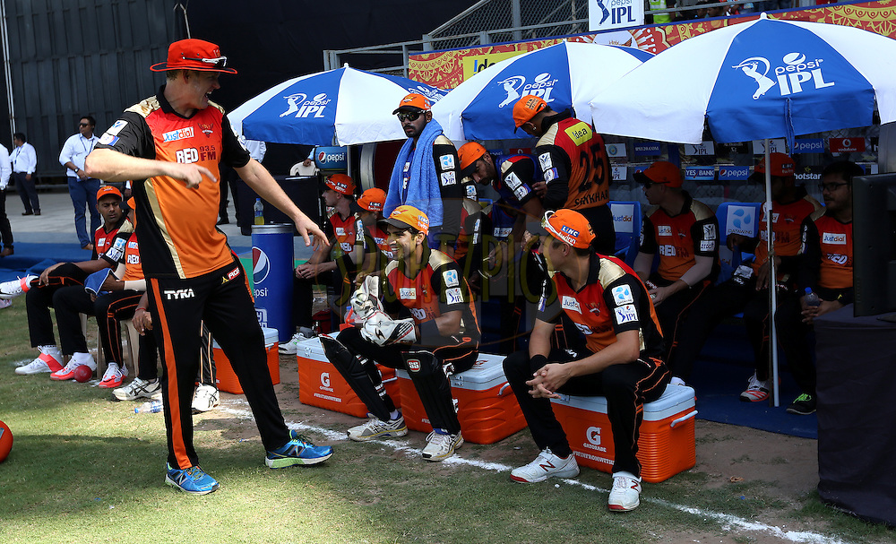 Sunrisers Hyderabad team in dugout before the satrt of the  match 23 of the Pepsi IPL 2015 (Indian Premier League) between The Mumbai Indians and The Sunrisers Hyferabad held at the Wankhede Stadium in Mumbai India on the 25th April 2015.<br /> <br /> Photo by:  Sandeep Shetty / SPORTZPICS / IPL