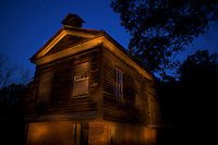The Fambro House (circa 1841) is one of the few buildings still standing at Old Cahawba Archaeological Park in Alabama during the early morning hours of Thursday, April 15, 2010. <br /> <br /> [This 30-second exposure includes flashlight illumination which gives the irregular lighting.]