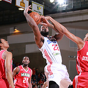 Delaware 87ers Forward EARL CLARK (22) drives towards the basket as Maine Red Claws Forward ASAUHN DIXON-TATUM (34) defends in the first half of a NBA D-league regular season basketball game between the Delaware 87ers and the Maine Red Claws Friday, Feb. 19, 2016 at The Bob Carpenter Sports Convocation Center in Newark, DEL.