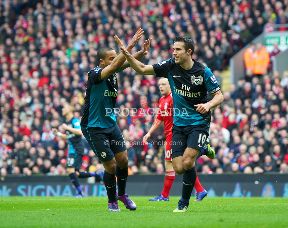 LIVERPOOL, ENGLAND - Saturday, March 3, 2012: Arsenal's Robin Van Persie celebrates scoring an equalising goal against Liverpool during the Premiership match at Anfield. (Pic by David Rawcliffe/Propaganda)