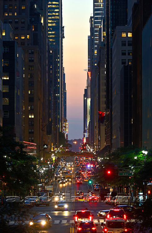 Twilight on 42nd Street in Manhattan.