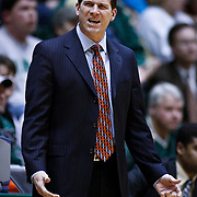 SHOT 2/23/10 9:24:42 PM - New Mexico head basketball coach Steve Alford works the sidelines during the first half of their regular season Mountain West Conference game against Colorado State at Moby Arena in Fort Collins, Co. New Mexico survived a tight game winning 72-66. (Photo by Marc Piscotty / © 2010)