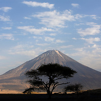 Africa, Tanzania, Lake Natron, Ol Doinyo Lengai Volcano at sunset