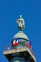 Napoleon statue on top of Place Vendôme Column in Paris France in May 2008